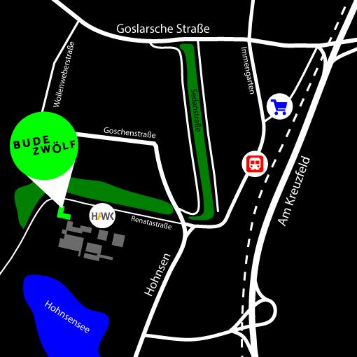 Lageplan der BudeZwölf in der Renatastraße Hildesheim